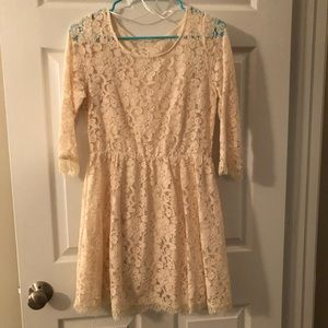 Cream lace mini dress